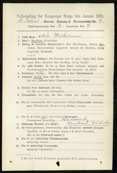 Image from object titled Folketelling 1891 - Vestre Toten - personsedler - side 3835