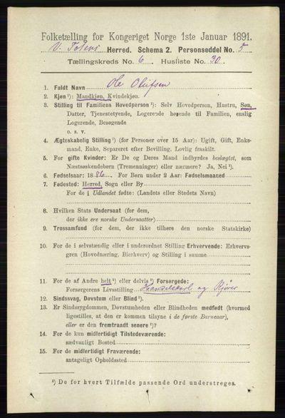 Image from object titled Folketelling 1891 - Vestre Toten - personsedler - side 3980