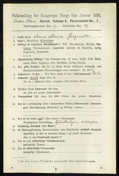 Image from object titled Folketelling 1891 - Vestre Toten - personsedler - side 4478
