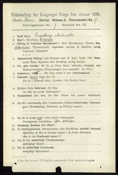 Image from object titled Folketelling 1891 - Vestre Toten - personsedler - side 4561