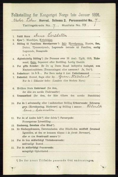 Image from object titled Folketelling 1891 - Vestre Toten - personsedler - side 4621