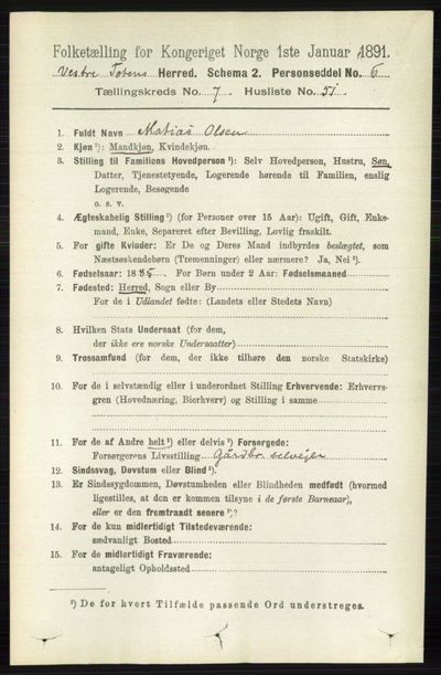 Image from object titled Folketelling 1891 - Vestre Toten - personsedler - side 4657