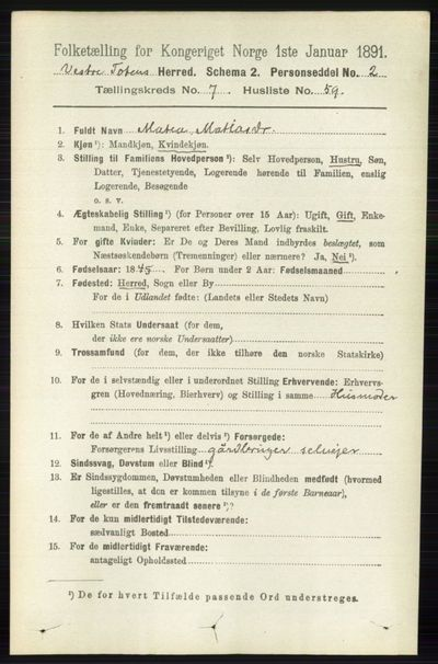 Image from object titled Folketelling 1891 - Vestre Toten - personsedler - side 4688