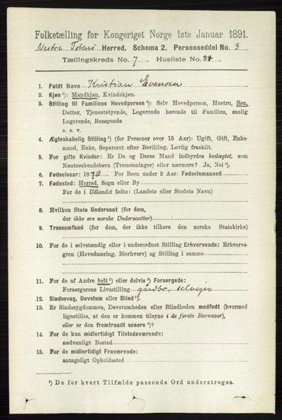 Image from object titled Folketelling 1891 - Vestre Toten - personsedler - side 4851