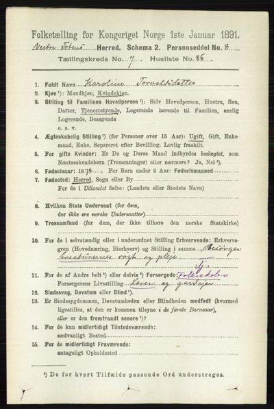 Image from object titled Folketelling 1891 - Vestre Toten - personsedler - side 4863