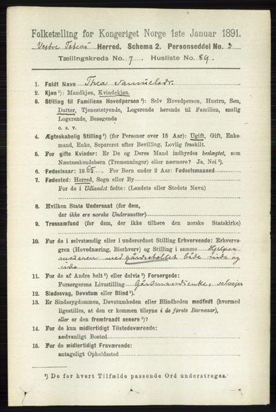 Image from object titled Folketelling 1891 - Vestre Toten - personsedler - side 4892