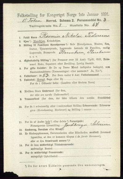 Image from object titled Folketelling 1891 - Vestre Toten - personsedler - side 5371