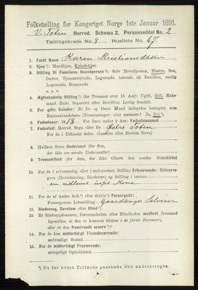 Image from object titled Folketelling 1891 - Vestre Toten - personsedler - side 5382