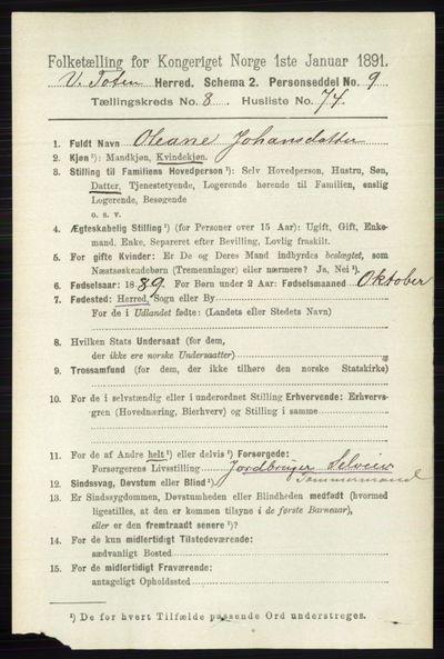 Image from object titled Folketelling 1891 - Vestre Toten - personsedler - side 5425