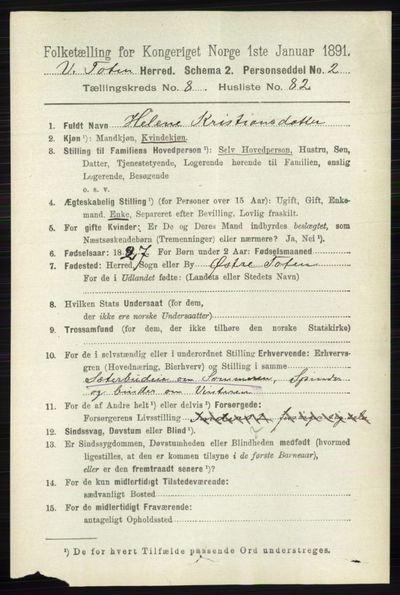 Image from object titled Folketelling 1891 - Vestre Toten - personsedler - side 5449