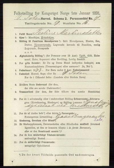 Image from object titled Folketelling 1891 - Vestre Toten - personsedler - side 5655