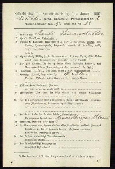 Image from object titled Folketelling 1891 - Vestre Toten - personsedler - side 5683