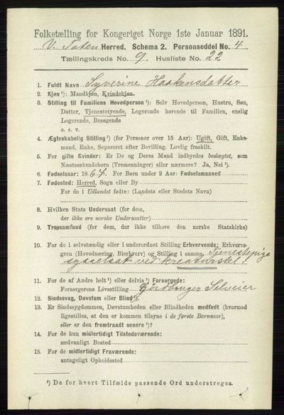 Image from object titled Folketelling 1891 - Vestre Toten - personsedler - side 5685