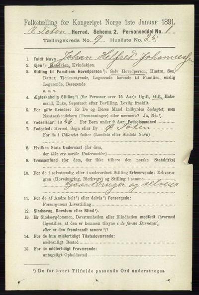 Image from object titled Folketelling 1891 - Vestre Toten - personsedler - side 5710