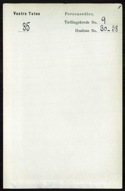 Image from object titled Folketelling 1891 - Vestre Toten - personsedler - side 5733