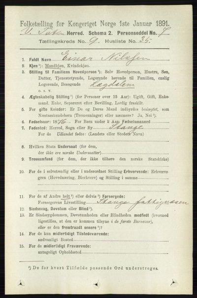 Image from object titled Folketelling 1891 - Vestre Toten - personsedler - side 5764