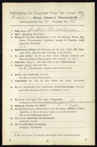 Image from object titled Folketelling 1891 - Vestre Toten - personsedler - side 5810