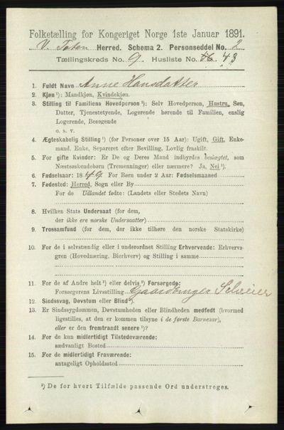 Image from object titled Folketelling 1891 - Vestre Toten - personsedler - side 5815