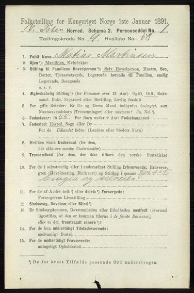 Image from object titled Folketelling 1891 - Vestre Toten - personsedler - side 5914