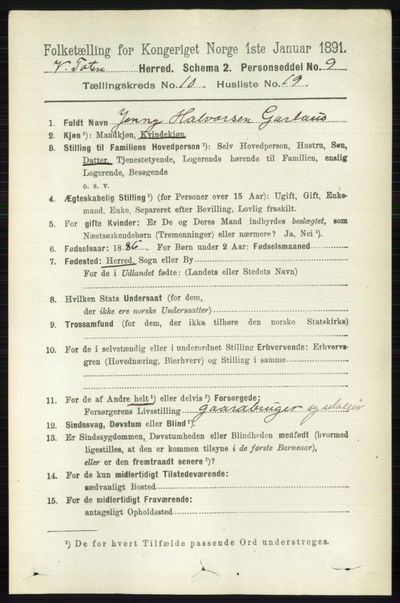 Image from object titled Folketelling 1891 - Vestre Toten - personsedler - side 6307