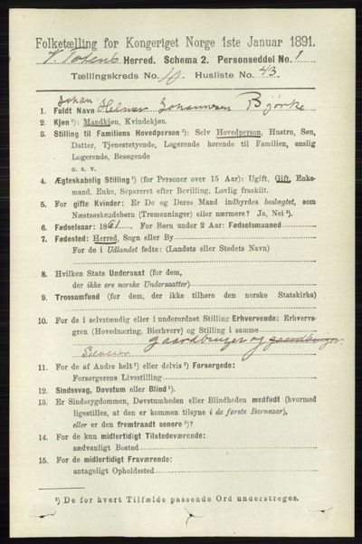 Image from object titled Folketelling 1891 - Vestre Toten - personsedler - side 6444