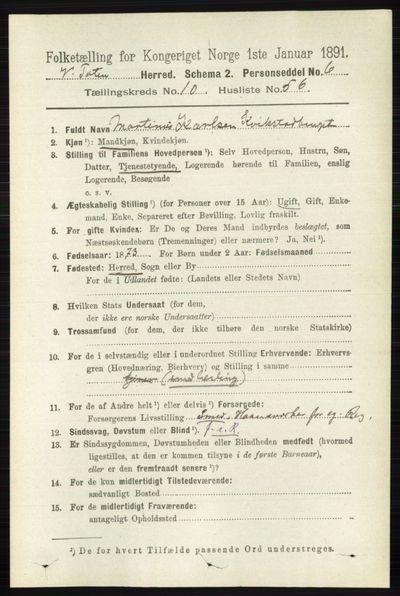 Image from object titled Folketelling 1891 - Vestre Toten - personsedler - side 6530