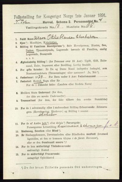 Image from object titled Folketelling 1891 - Vestre Toten - personsedler - side 6571