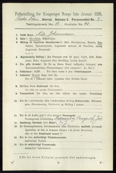 Image from object titled Folketelling 1891 - Vestre Toten - personsedler - side 6917