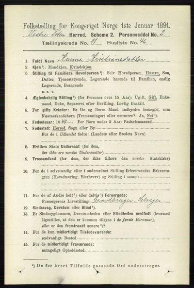Image from object titled Folketelling 1891 - Vestre Toten - personsedler - side 6950