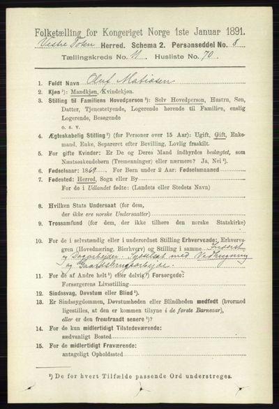 Image from object titled Folketelling 1891 - Vestre Toten - personsedler - side 7133