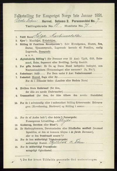 Image from object titled Folketelling 1891 - Vestre Toten - personsedler - side 7141