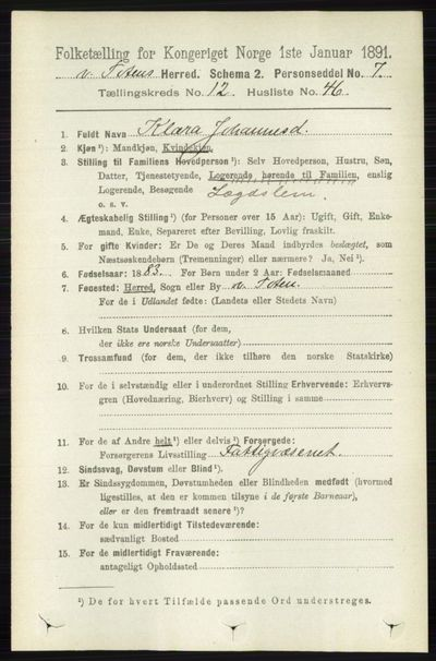 Image from object titled Folketelling 1891 - Vestre Toten - personsedler - side 7564