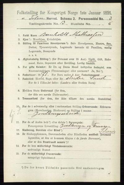 Image from object titled Folketelling 1891 - Vestre Toten - personsedler - side 7846