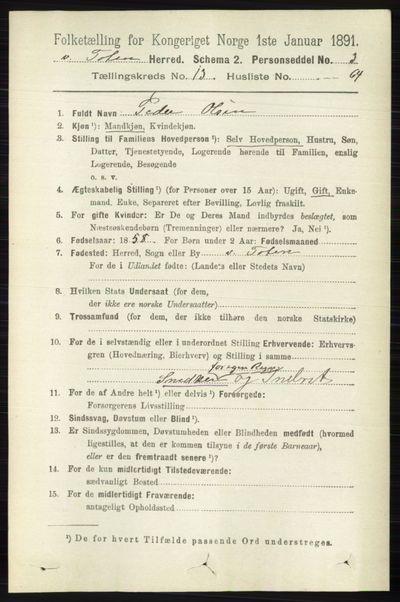 Image from object titled Folketelling 1891 - Vestre Toten - personsedler - side 8142