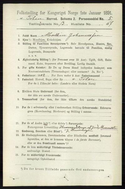 Image from object titled Folketelling 1891 - Vestre Toten - personsedler - side 8163