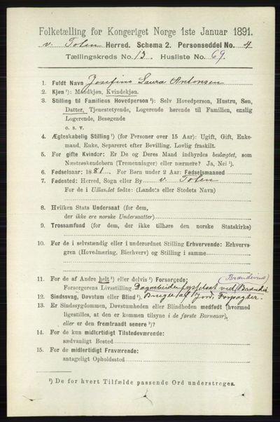 Image from object titled Folketelling 1891 - Vestre Toten - personsedler - side 8170