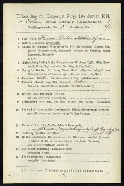 Image from object titled Folketelling 1891 - Vestre Toten - personsedler - side 8194