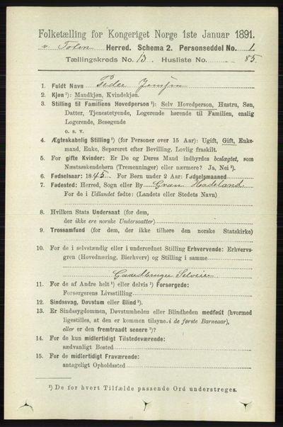 Image from object titled Folketelling 1891 - Vestre Toten - personsedler - side 8268