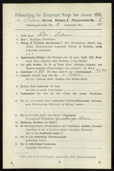 Image from object titled Folketelling 1891 - Vestre Toten - personsedler - side 8272
