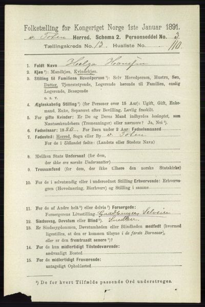 Image from object titled Folketelling 1891 - Vestre Toten - personsedler - side 8411