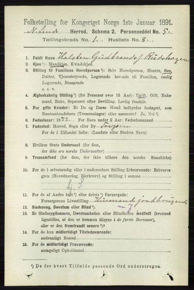 Image from object titled Folketelling 1891 - Nordre Land - personsedler - side 168