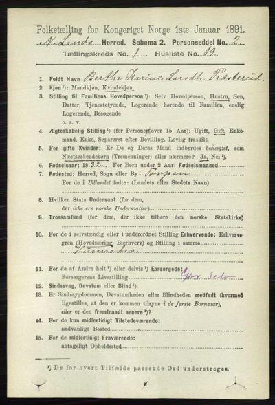 Image from object titled Folketelling 1891 - Nordre Land - personsedler - side 221