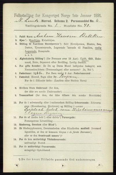 Image from object titled Folketelling 1891 - Nordre Land - personsedler - side 376