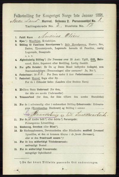 Image from object titled Folketelling 1891 - Nordre Land - personsedler - side 1023