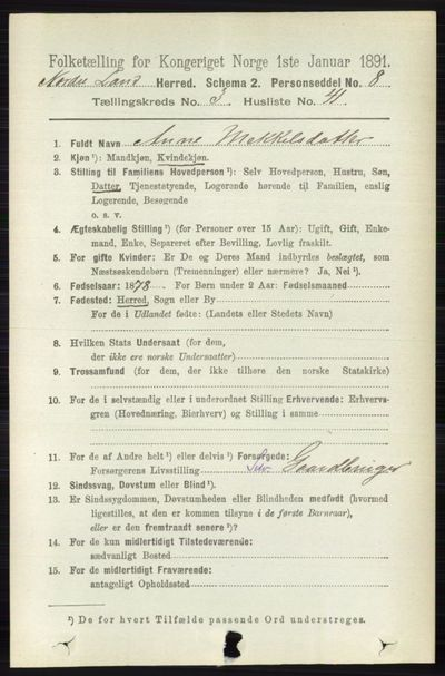 Image from object titled Folketelling 1891 - Nordre Land - personsedler - side 1177