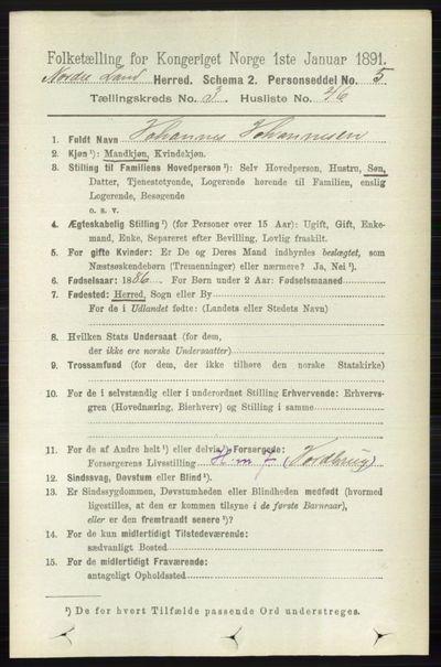 Image from object titled Folketelling 1891 - Nordre Land - personsedler - side 1208