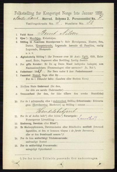 Image from object titled Folketelling 1891 - Nordre Land - personsedler - side 1244