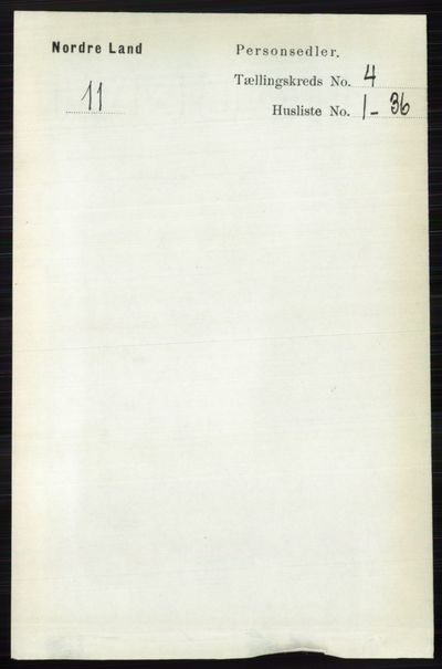 Image from object titled Folketelling 1891 - Nordre Land - personsedler - side 1343
