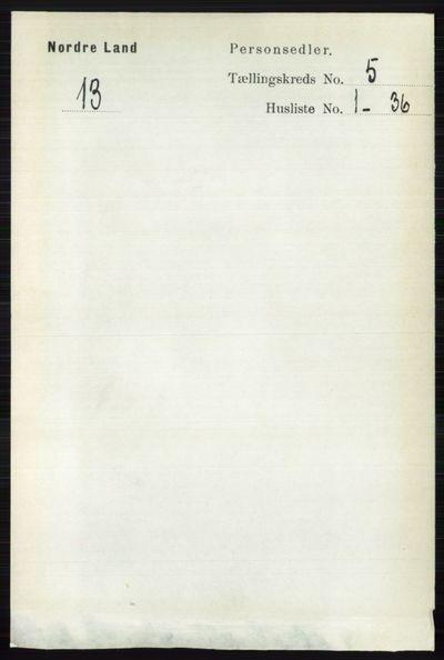 Image from object titled Folketelling 1891 - Nordre Land - personsedler - side 1551