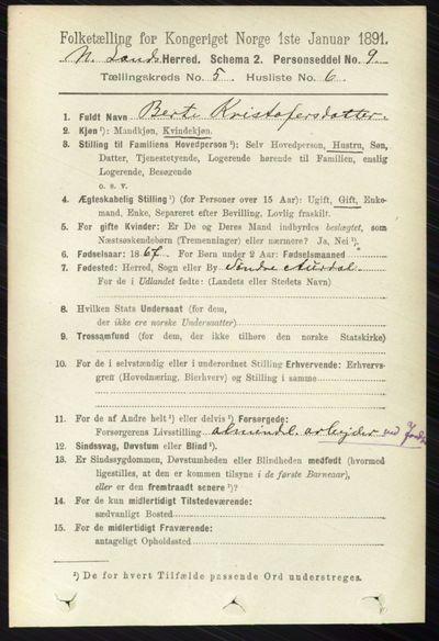 Image from object titled Folketelling 1891 - Nordre Land - personsedler - side 1588